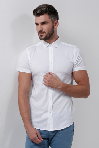 Shirt with Short Sleeves and Button Placket