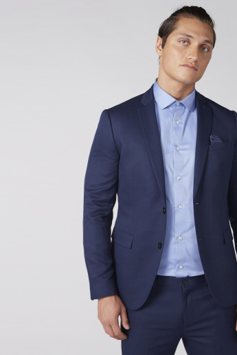 Notched Lapel Jacket with Long Sleeves and Button Closure