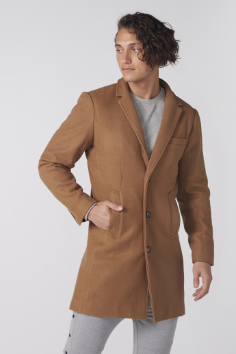 Long Sleeves Notched Lapel Overcoat with Pocket Detail