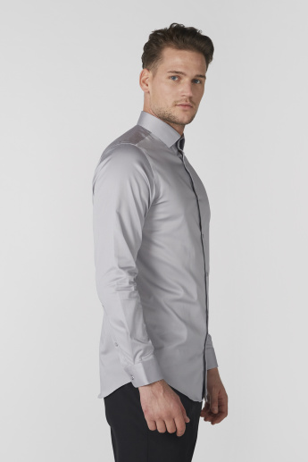 Easy Care Stretch Shirt with Long Sleeves and Complete Placket