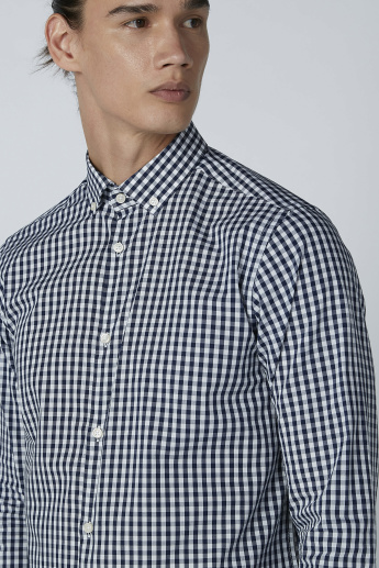 Chequered Shirt with Button-Down Collar and Sleeves Placket