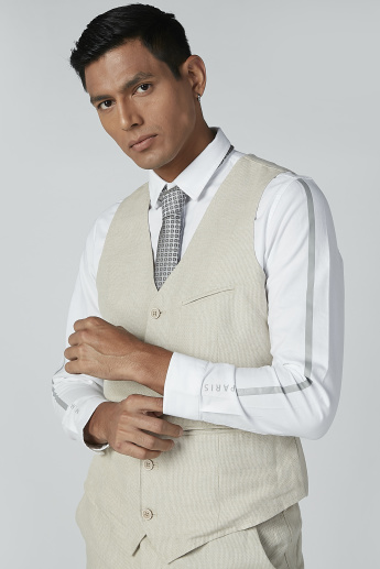 Textured Waistcoat with Button Closure and Pockets
