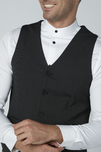 Textured Formal Waistcoat with Welt Pockets