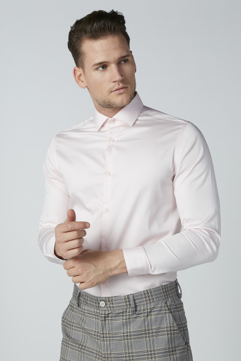 Easy Care Stretch Shirt with Spread Collar and Long Sleeves