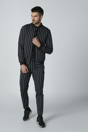 Striped Trousers with Pocket Detail and Drawstring