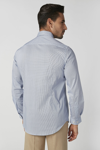 Printed Formal Shirt with Long Sleeves and Spread Collar