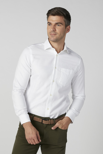 Solid Shirt with Long Sleeves and Patch Pocket
