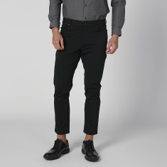 Skinny Fit Solid Trousers with Pocket Detail