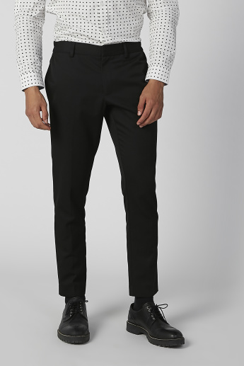 Slim Fit Full Length Mid Waist Formal Trousers with Pocket Detail