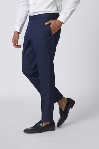 Slim Fit Full Length Textured Trousers with Pocket Detail