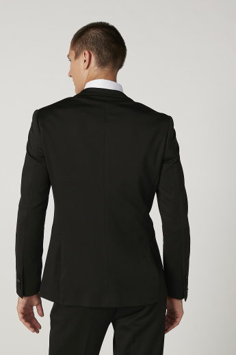 Slim Fit Plain Blazer with Shawl Collar and Welt Pockets