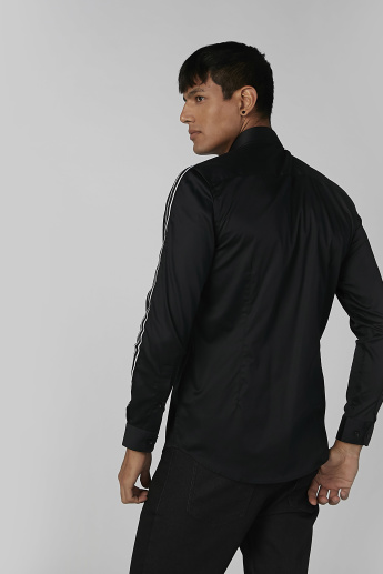 Side Tape Detail Shirt with Long Sleeves and Spread Collar