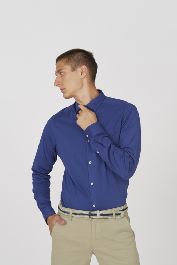 Sustainable Plain Shirt with Spread Collar and Long Sleeves