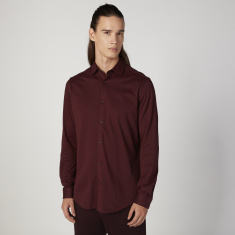 Sustainability Plain Shirt with Spread Collar and Long Sleeves
