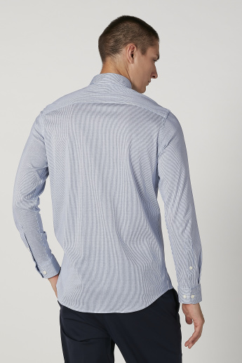 Sustainable Striped Shirt with Long Sleeves and Spread Collar
