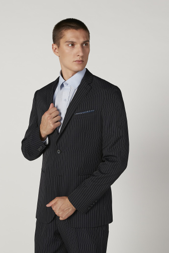 Slim Fit Striped Formal Blazer with Notched Lapel and Long Sleeves