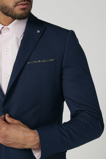Slim Fit Textured Formal Jacket with Notched Lapel and Flap Pockets
