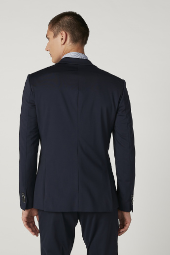 Slim Fit Plain Blazer with Notched Lapel and Long Sleeves