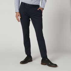 Slim Fit Plain Mid Waist Trousers with Pocket Detail and Belt Loops