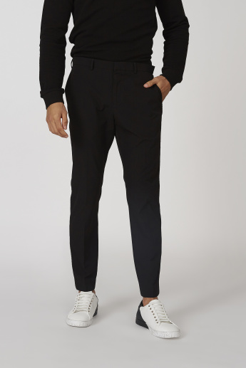 Slim Fit Plain Mid Waist Trousers with Pocket Detail