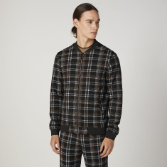 Slim Fit Chequered Bomber Jacket with Pockets
