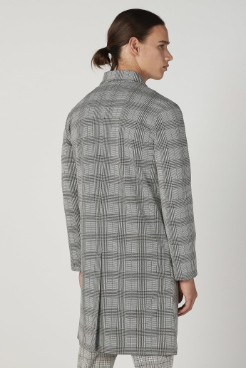 Slim Fit Chequered Longline Jacket with Long Sleeves
