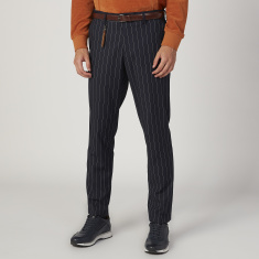 Slim Fit Full Length Striped Mid Waist Trousers with Pocket Detail
