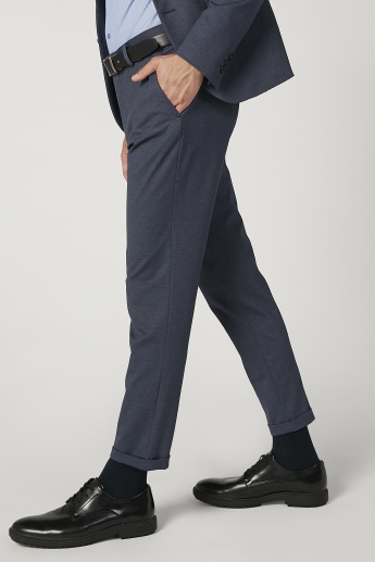 Skinny Fit Textured Mid Waist Formal Trousers with Pocket Detail