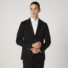 Solid Blazer with Notched Lapel and Flap Pockets