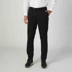 Plain Full Length Trousers with Pocket Detail and Belt Loops
