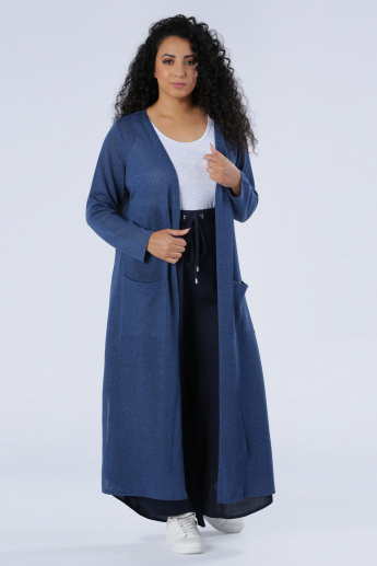 Longline Open Front Jacket with Long Sleeves and Patch Pockets