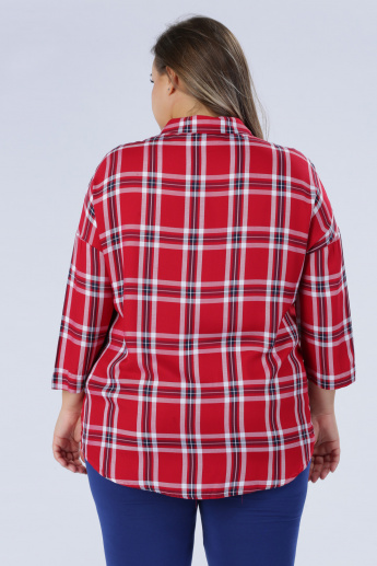 Plus Size Chequered Shirt with Long Sleeves