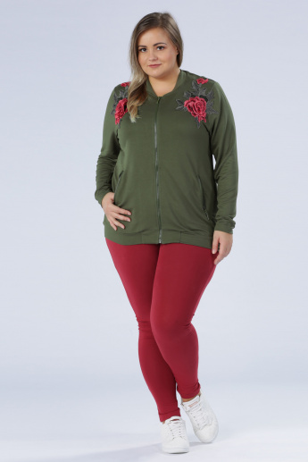 Plus Size Embroidered Long Sleeves Jacket
