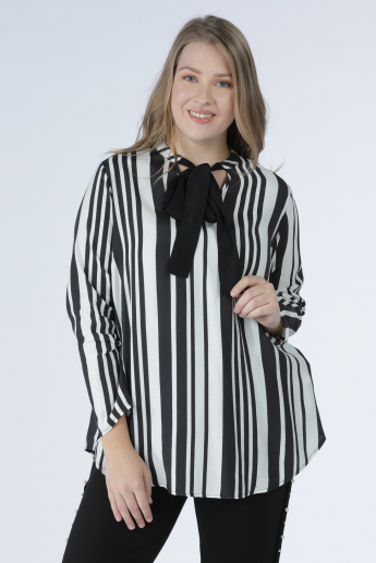 Striped Top with Long Sleeves and Tie Up Detail