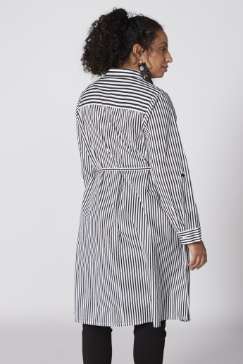Striped Longline Tunic with Long Sleeves and Complete Placket