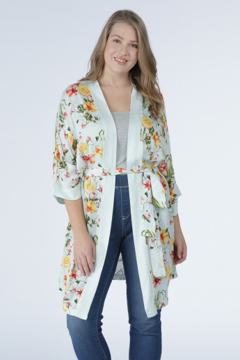 Printed Long Line Shrug with Long Sleeves and Tie Up Closure
