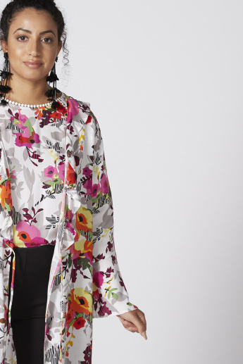 Printed Longline Jacket with Long Sleeves and Tie Ups