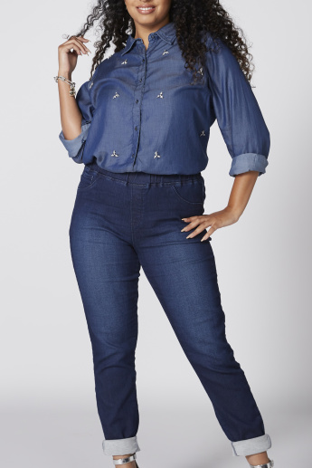Denim Full Length Jeggings with Elasticised Waistband and Pocket Detail