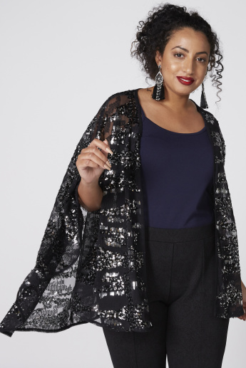 Sequin Detail Open Front Jacket with Flared Sleeves