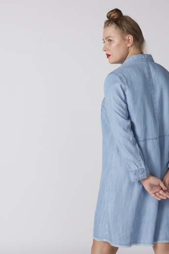 Denim Shirt Dress with Long Sleeves and Frayed Grazers