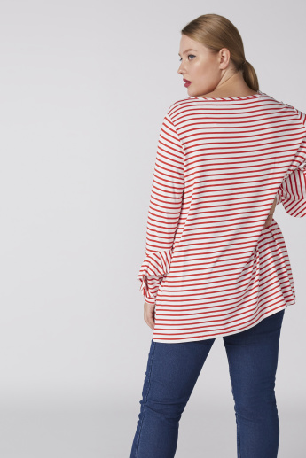 Striped Boat Neck Top with Long Sleeves