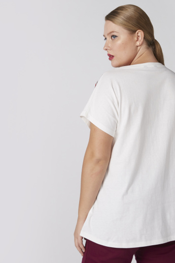 Embellished T-Shirt with Round Neck and Extended Sleeves