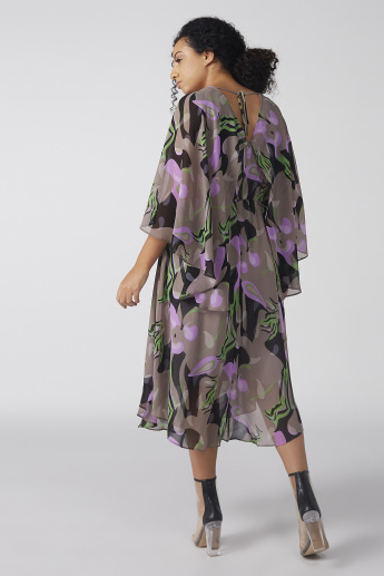 Floral Printed Dress with V-Neck and Flared Sleeves