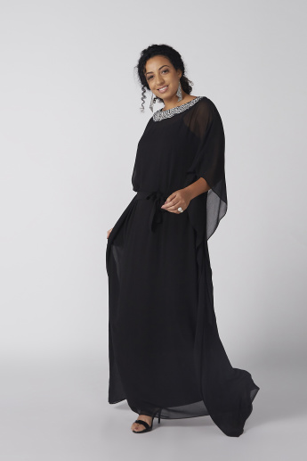 Embellished Maxi Dress with Flared Sleeves
