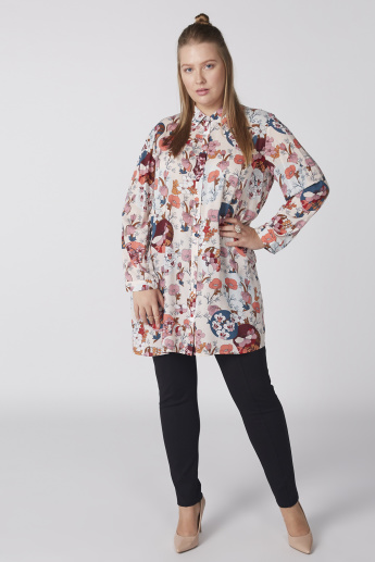 Printed Shirt Tunic with Long Sleeves and Complete Placket