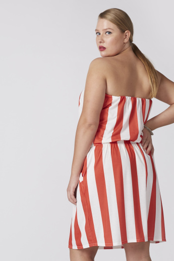 Striped Off Shoulde Playsuit with Pocket Detail