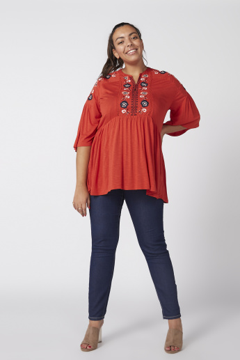 Embroidered Top with Flared Sleeves