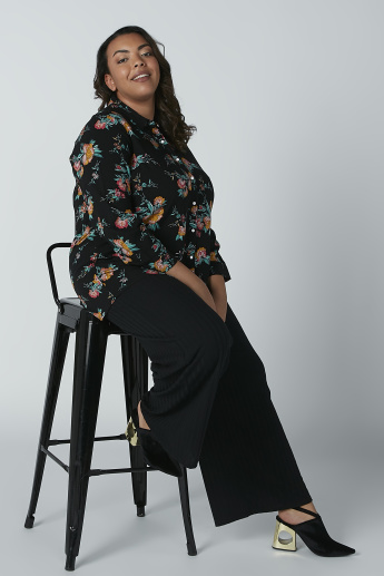 Floral Printed Shirt with 3/4 Sleeves and Complete Placket