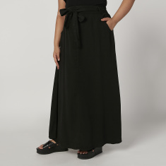 Plain Maxi A-line Skirt with Pocket Detail and Elasticised Waistband