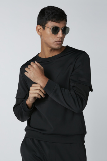 Pocket Detail Sweatshirt with Round Neck